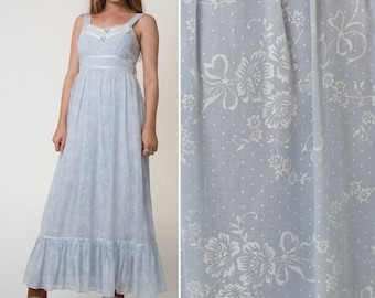 PRAIRIE dress vintage baby BLUE floral maxi hippie BOHO festival 1970s seventies clothes bohemian 70s bridesmaid dress bridal shower dress