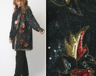SEQUIN jacket vintage 80s 90s black party PLUS SIZE evening oversized beaded baggy sequined slouchy silk 1980s shiny sequin jacket 1X large