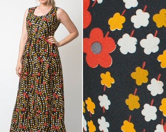 60s maxi dress FLOWER POWER hippie vintage sleeveless maxi autumn black orange red retro SIXTIES 1960s flower print floral dress