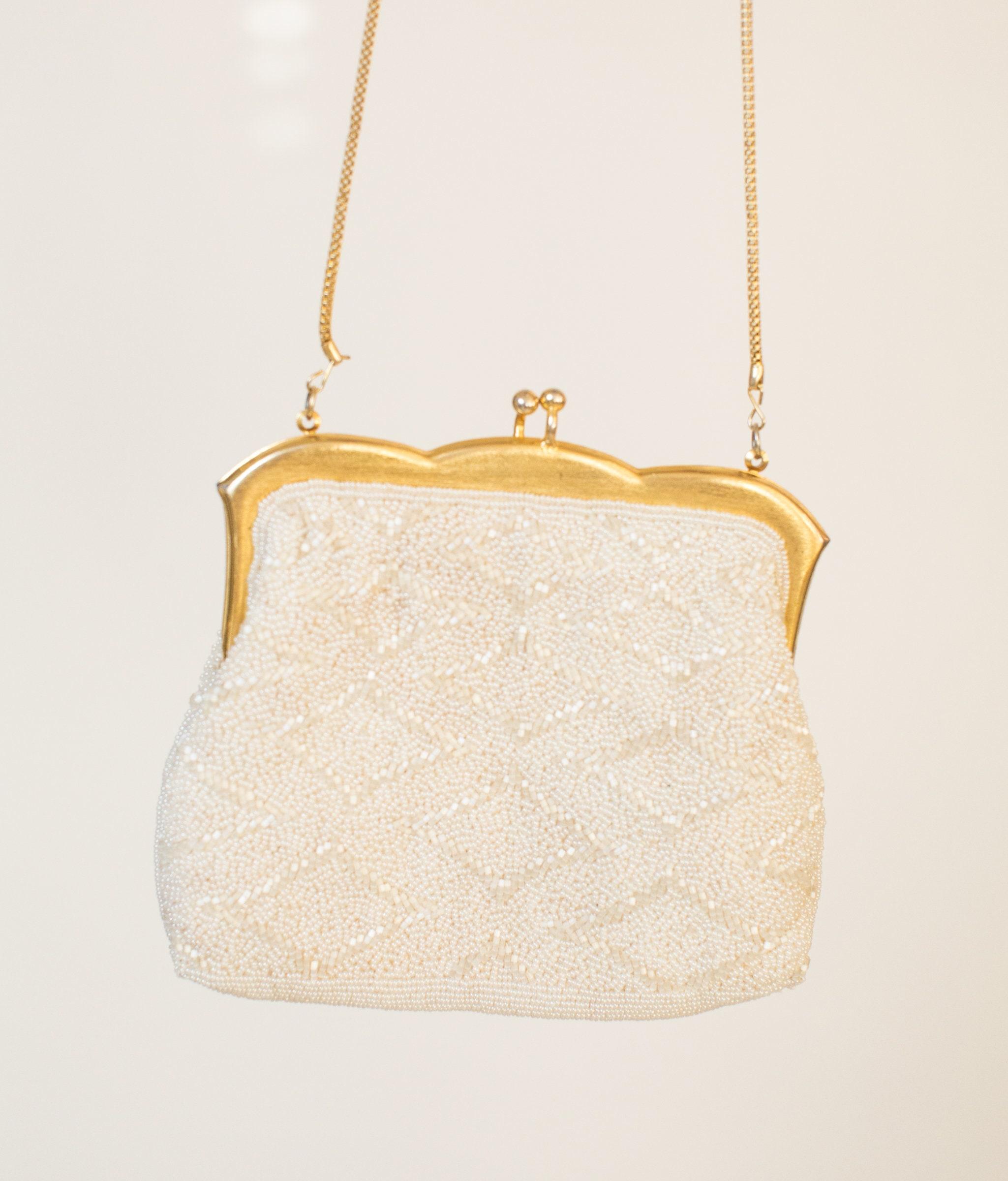 bbad02afe7 Beaded purse vintage handbag WEDDING purse BRIDAL purse gold   Etsy