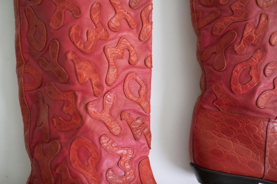 Vintage 80s RETRO boots Red LEATHER Beverly Feldm… - image 3