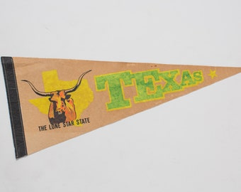 TEXAS pennant- VINTAGE home decor- Boy nursery decor 1960s 1970s home decor decorations wall hanging wall decor