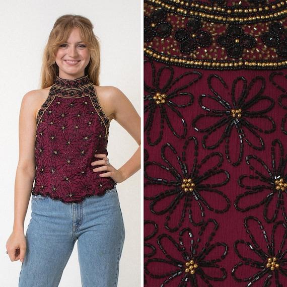 BEADED blouse sleeveless blouse SILK blouse high n