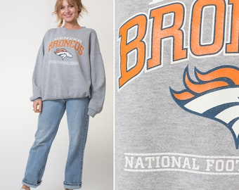 DENVER BRONCOS sweatshirt- Vintage 90s XXL sweatshirt crewneck pull over football mens women's grey plus size baggy cozy Colorado Broncos