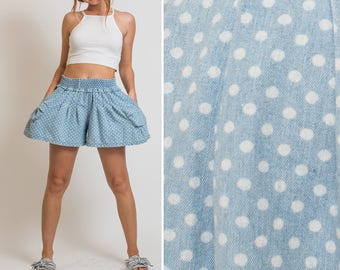 Womens Polka Dot blue denim 80s 90s FLOWY Elastic Waist Shorts OVERSIZED SHORTS