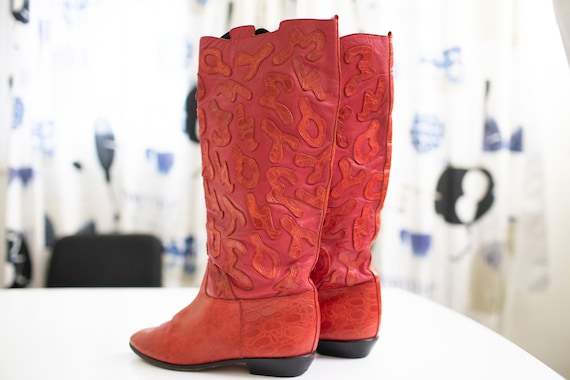 Vintage 80s RETRO boots Red LEATHER Beverly Feldm… - image 8