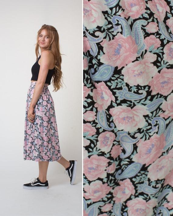 90s skirt vintage skirt floral skirt midi skirt RA