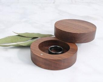 Round Wedding Ring Box, Engagement Ring Box, Wood Circle Ring Box, Wooden Ring Box, Wood Ring Box, Walnut Ring Box, Rustic Ring Box