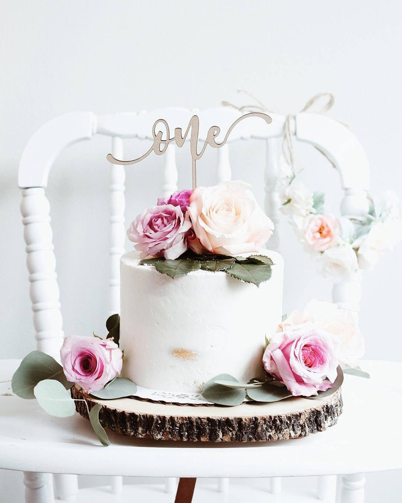 First Birthday Cake Topper One Number Happy Custom DIY