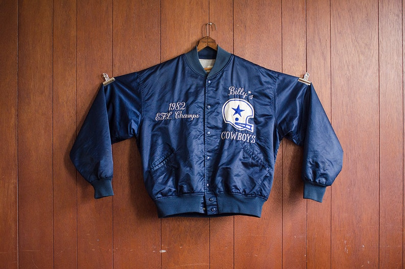 hot sale online 848b6 63d43 Vintage 1982 Boston Letterman Jacket Billy's Cowboys Football Team Navy  Blue Embroidered Patch Text Thick Shell Inner Lining Mens Large