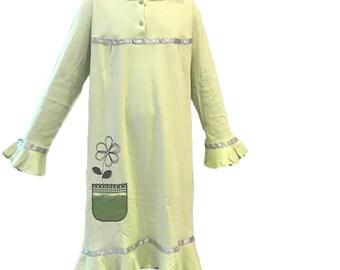 e4d767ee43 Girls Cotton Nightgown Long Sleeve Light Green Flary   Night Dress Night  Dress