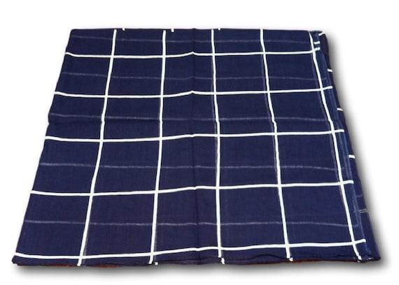 Foulard à carreaux 100 % coton carré bleu marine, Tichel, Bandana, Hijab, chimio Wrap