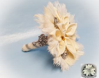 """12"""" 'Gatsby Glamour' Bridal Brooch Bouquet - Calla Lilies, Ostrich Feathers and Bling - Ivory Feather Bouquet + FREE Groom Boutonniere"""