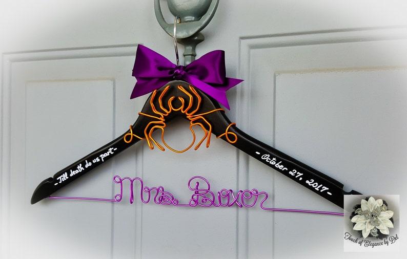 OOAK hanger HALLOWEEN Wedding Hanger Custom Name Hanger Till Death Do Us Part Unique Spider Design SPIDER Wedding Dress Hanger