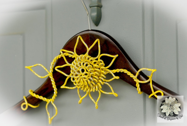 OOAK Custom Name Hanger Fairy-tale Sunflower Wedding Dress Hanger Rustic Wedding Original Design Hanger Yellow Flower Hanger