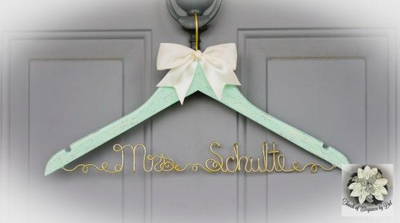 Unique Design Hanger Mint /& Gold Wedding Hanger I said yes Wedding Dress Hanger Original design Fairy-tale Wedding