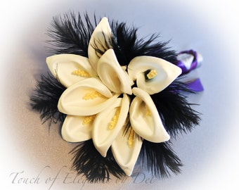 Diamonds in the sky Bridesmaids Bouquet with Calla Lilies & Ostrich Feathers