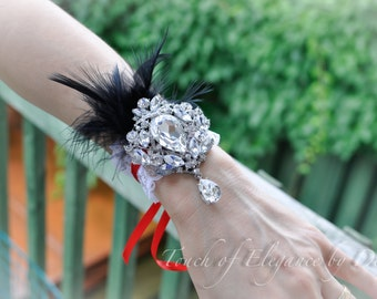 Wrist Corsage - Lace, Feathers and Bling