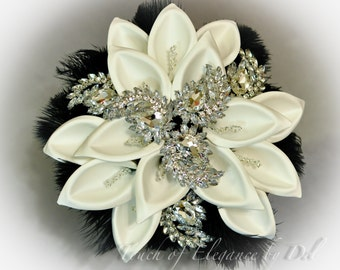 """12"""" 'Diamonds in the sky Deluxe Edition' Bridal Brooch Bouquet - Calla Lilies, Feathers & Bling + FREE Boutonniere - Fairytale Bouquet"""