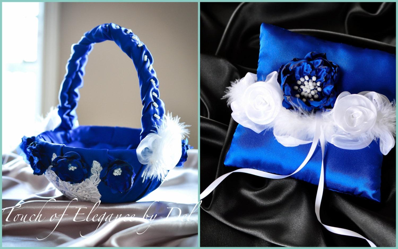 Ring Bearer Pillow And Flower Girl Basket Set Something Blue Etsy
