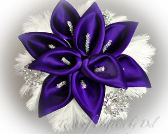 """12"""" 'Gatsby Glamour' Bridal Brooch Bouquet - Calla Lilies, Ostrich Feathers and Bling + FREE Groom Boutonniere"""