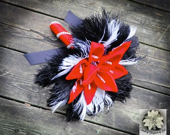 """11"""" 'Passion Red' Wedding Bouquet with Calla Lilies & Ostrich Feathers"""