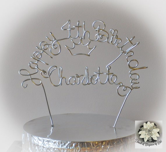Happy Birthday Princess Cake Topper / personalisierte Draht   Etsy