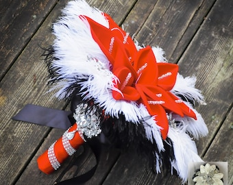 """14"""" 'Passion Red' Bridal Brooch Bouquet - Calla Lilies, Ostrich Feathers and Bling + FREE Groom Boutonniere"""