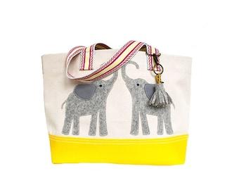 Twin Elephant Tote + Tassel Key Ring - Yellow