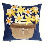 Daffy Basket Pillow in Yellow + Blue