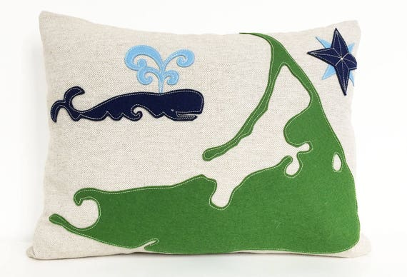 Nantucket Map   Spouting Whale Pillow With Green and Blue Felt  5f69d08e605