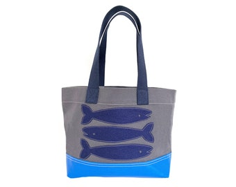 Fish Tote - Blue + Charcoal