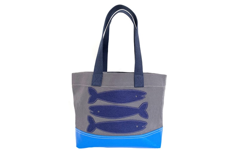 Fish Tote  Blue  Charcoal image 0