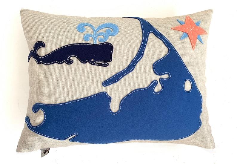 Nantucket Map Pillow in Blue  Oat image 0