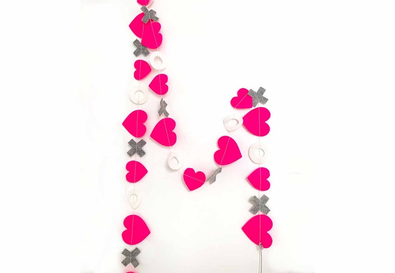 Hearts  Hugs Garland in Neon Pink  Gray image 0