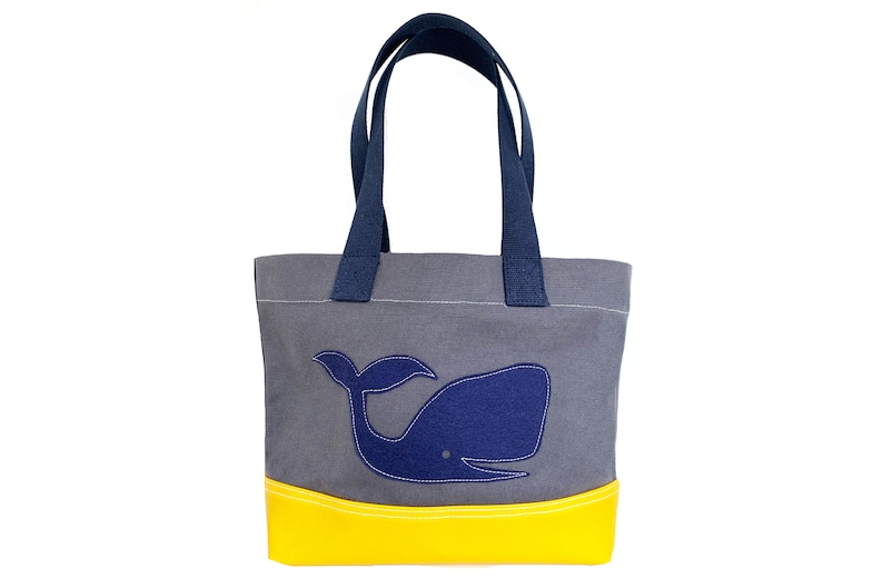 Whale Tote  Yellow  Gray image 0