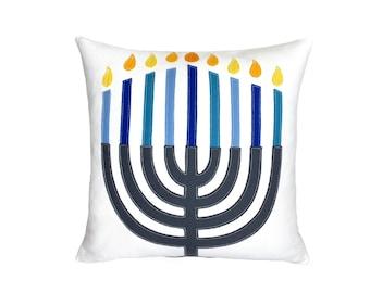 Hanukkah Menorah - Blue + Ivory