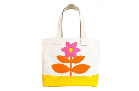 Flower Tote - Orange + Yellow