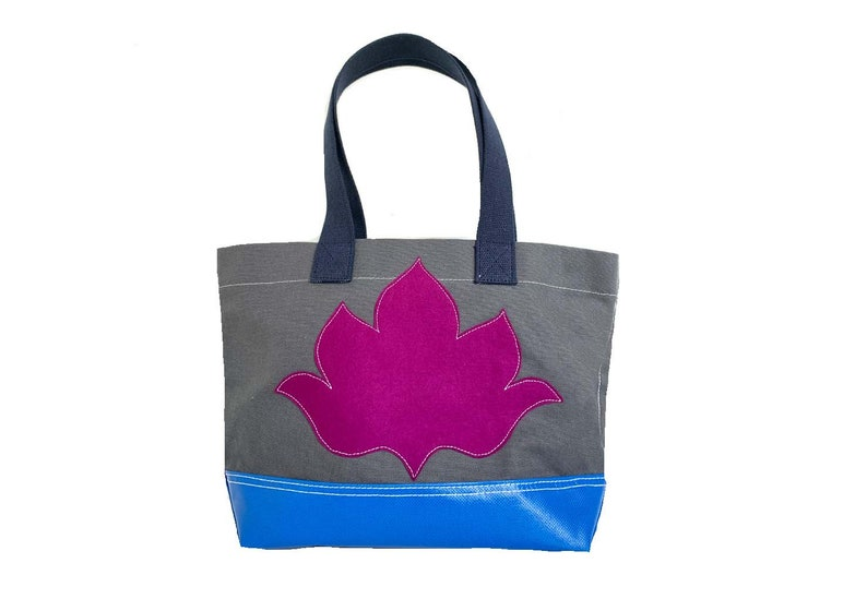 Lotus Flower Tote  Fuschia  Gray image 0