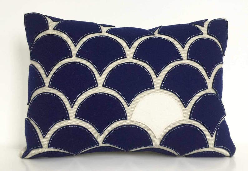 Navy blue white wave pillow with wool felt applique on etsy