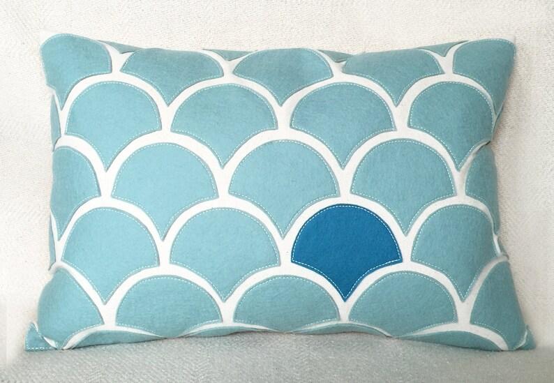 Seafoam blue wave pillow with wool felt applique on cotton etsy