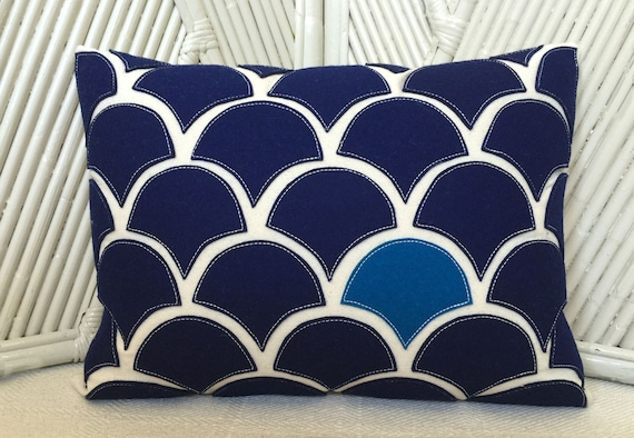 Navy blue wave pillow with wool felt applique on cotton etsy