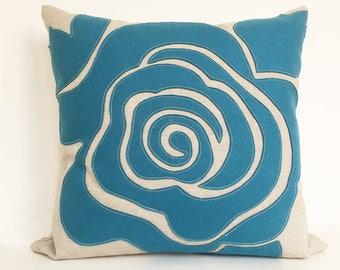 Modern Rose Petal Pillow in Seafoam Teal Felt on Oatmeal Cotton/Linen