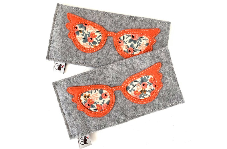 Glam Eyeglass Case  Coral  Gray image 0