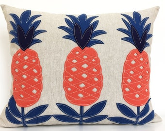 Pineapple You're Welcome Pillow in Coral and Navy on Oatmeal Linen