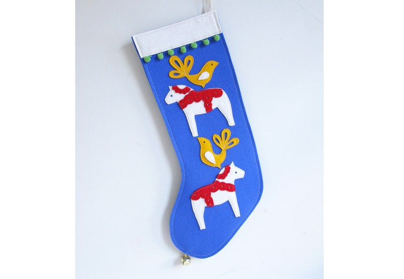 Christmas Stocking with Dala Horse & Birds in Royal Blue Wool image 0