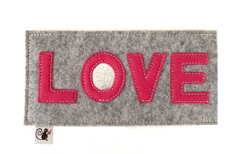LOVE Eyeglass Case  Pink  Gray image 0