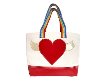 Flying Heart Tote - Red + Rainbow