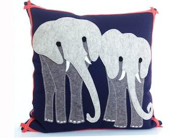 Elephant Safari Pillow in Grey Felt, Navy Cotton and Coral Red Trim