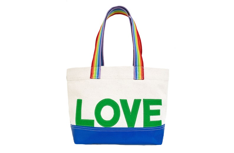 LOVE Tote  Green  Rainbow image 0